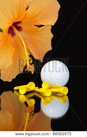 Orange Hibiscus Flower  And Golf Equipments On The Glass Table