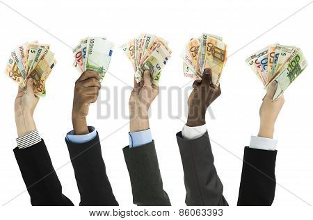 Assortfed Hands With Euro Currency