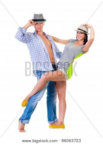 Full length of young couple isolated over white background