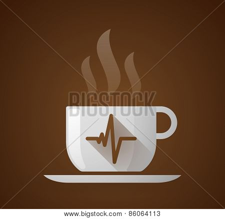 Coffee Cup With A Heart Beat Sign