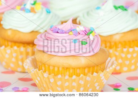 Pastel Cupcakes With Sprinkles