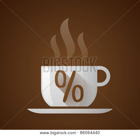 Coffee Cup With A Percentage Sign