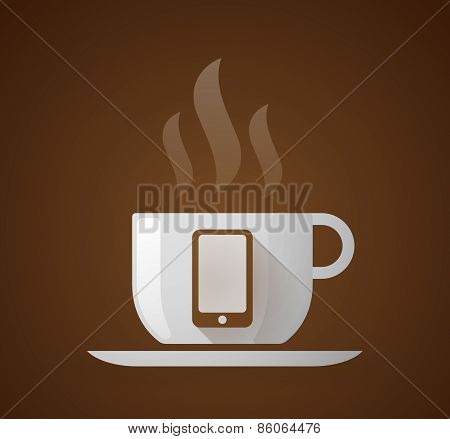Coffee Cup With A Phone