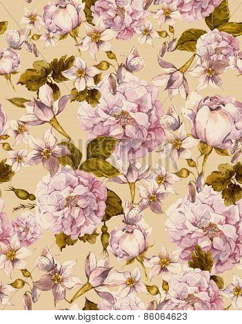 Vintage Seamless Background with White Flowers