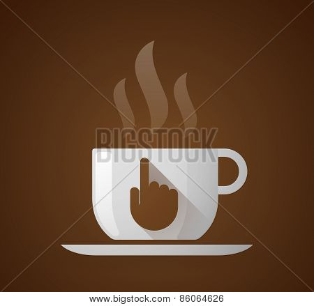 Coffee Cup With A Pointing Hand