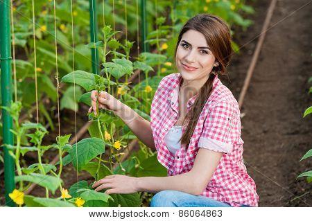 Portrait of woman gardening