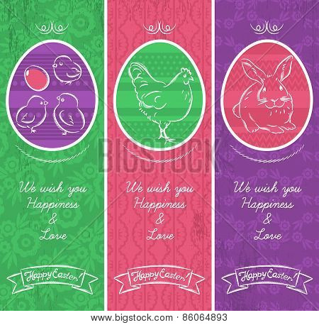 Greetings Web Banner For Easter Day With Frame With Easter Elements, Rabbit, Hen And Chicken.