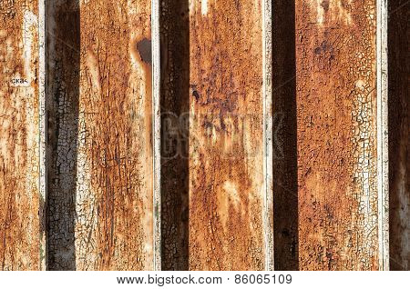 Rusty surface of corrugated sheet