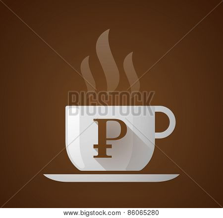 Coffee Cup With A Ruble Sign