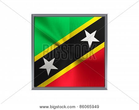 Square Metal Button With Flag Of Saint Kitts And Nevis