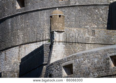 Dubrovnik Citadel Wall With Watchtower