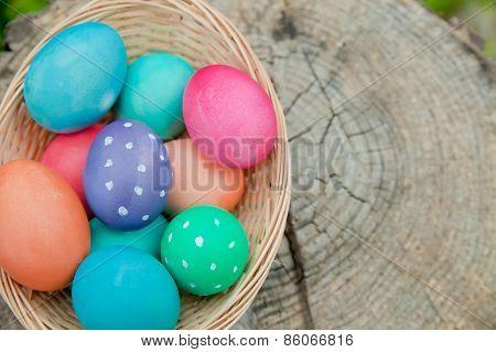 Easter Egg Basket On A Stump