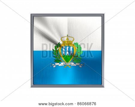 Square Metal Button With Flag Of San Marino