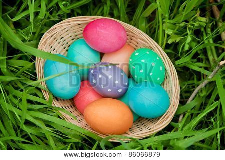 Easter Eggs Basket From Above