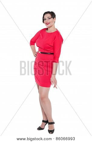 Beautiful Plus Size Woman In Red Dress Posing Isolated