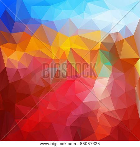 Vector Polygonal Background Pattern - Triangular Design In Fire Colors