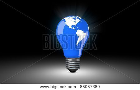 Lighting Bulb with world map.