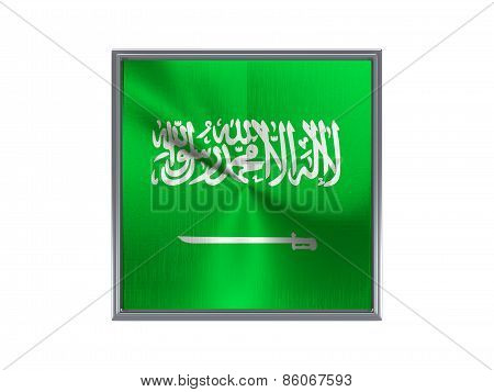Square Metal Button With Flag Of Saudi Arabia