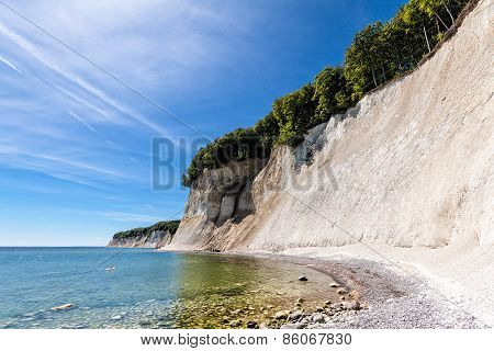 Chalk Cliffs On Shore Of The Baltic Sea