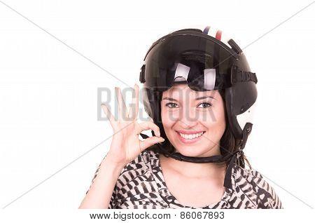 beautiful fun happy young girl wearing a helmet