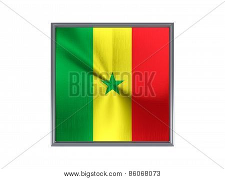 Square Metal Button With Flag Of Senegal