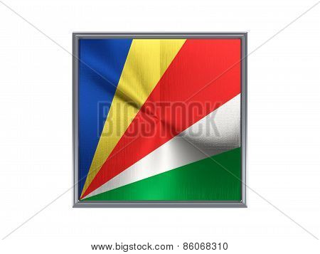 Square Metal Button With Flag Of Seychelles