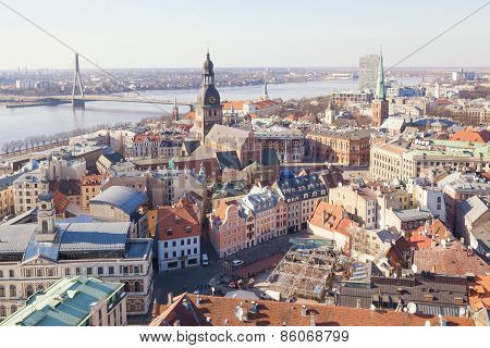 Aerial view of buildings in old center of Riga
