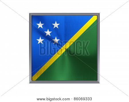 Square Metal Button With Flag Of Solomon Islands