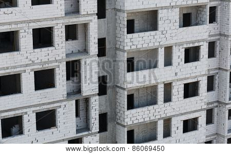 Unfinished Building From Bricks -  Construction Process
