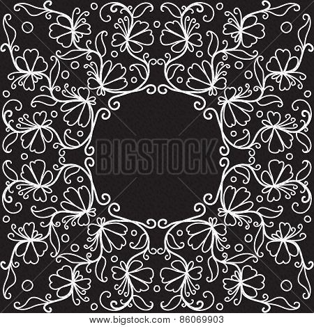 vector doodle pattern of spirals, swirls and flowers