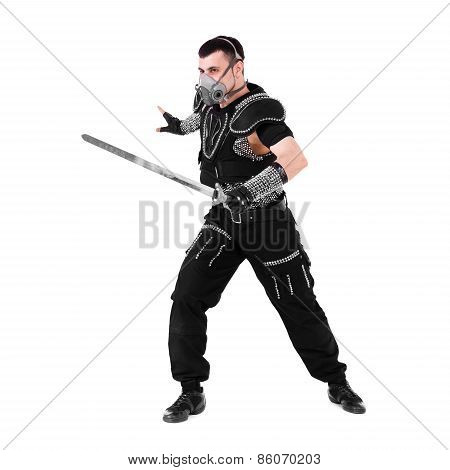 Man with sword isolated on white