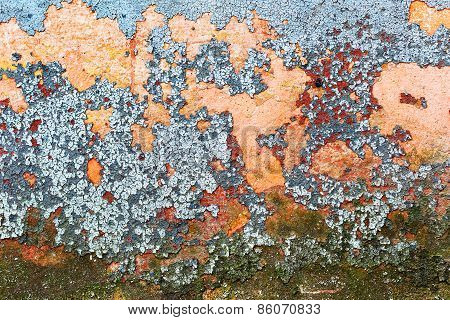 Abstract Background Concrete Painted Yellow, Red, Purple, Blue Paint, Weathered With Cracks And Scra