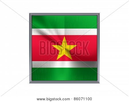 Square Metal Button With Flag Of Suriname