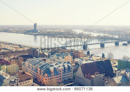 Aerial view of Riga centre