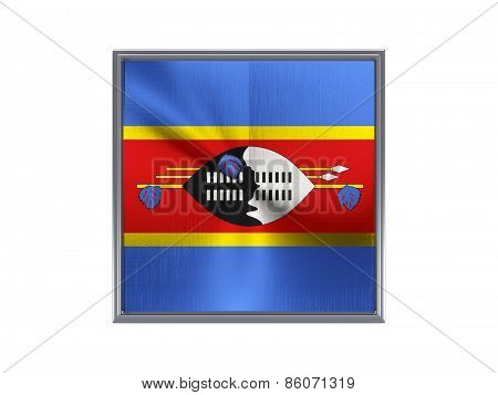 Square Metal Button With Flag Of Swaziland