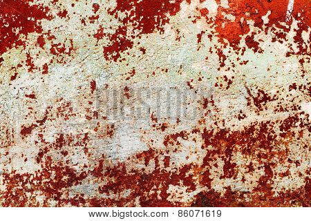 Creative Background Beautiful Concrete Carelessly Painted Brown And White Paint, Cracks And Scratche