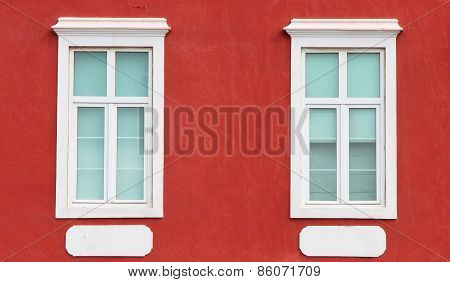 Spain. Canary Islands. Gran Canaria Island. Las Palmas De Gran Canaria. Detail Of Facade With Two Wi