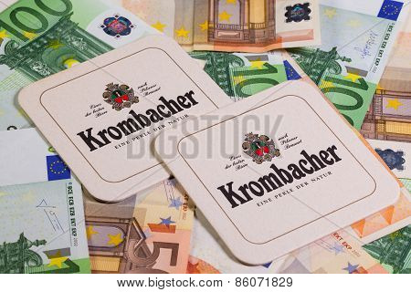 Beermats From Krombacher Beer And Eur Money.