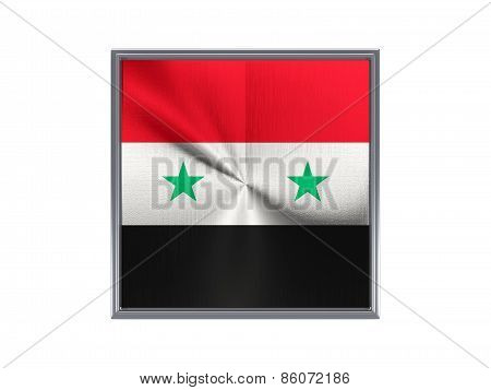 Square Metal Button With Flag Of Syria