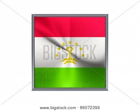 Square Metal Button With Flag Of Tajikistan