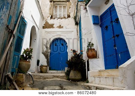 Blue Doors, Window And White Wall Of Building In Sidi Bou Said, Tunisia