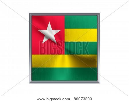Square Metal Button With Flag Of Togo