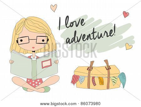 Young Girl With Glasses Reading A Book, Packed Suitcase