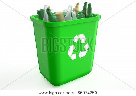Recycling Container With Glass Bottles
