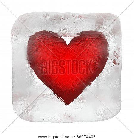 Heart in ice cube