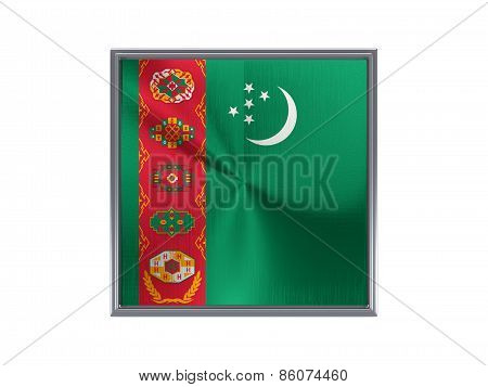 Square Metal Button With Flag Of Turkmenistan