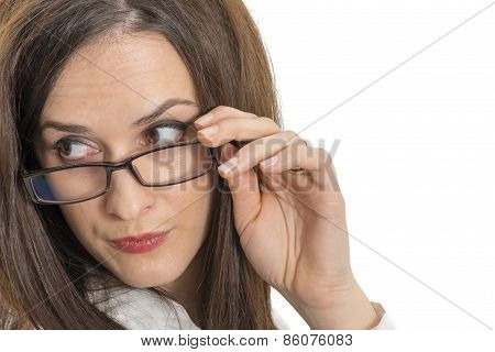 Close Up Of Beautiful Young Woman Wearing Eyeglasses