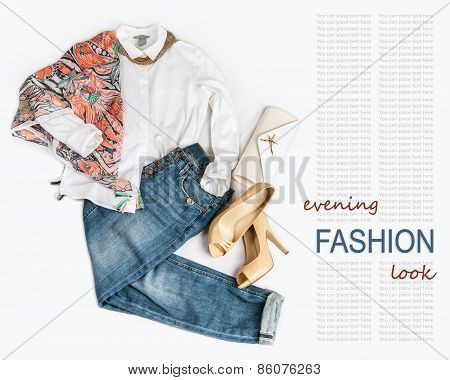 Elegant Fashion Evening  Look With Jeans On White Background