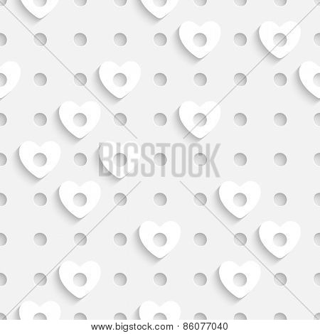 Seamless Heart Pattern. Vector Soft Background. Regular White Texture