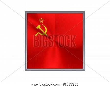 Square Metal Button With Flag Of Ussr